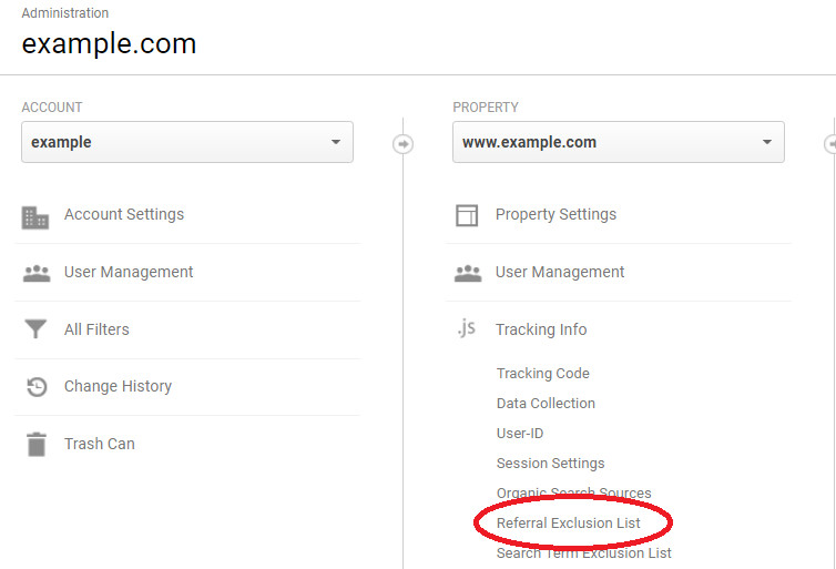 Navigate to Referral Exclusions for cross domain tracking in Google Analytics Admin