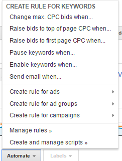 create automate rule on keywords level - envigo